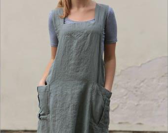 Linen Pinafore apron / Square Cross Linen Apron / Japanese Apron / Long linen apron / linen tunic / linen apron / Linen summer tunic