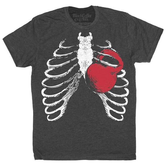 Halloween Gym Shirt - Squat Shirt - Kettlebell Shirt - Men's Workout Shirt - Ribcage T-Shirt Hand Screen Printed on a Mens Shirt