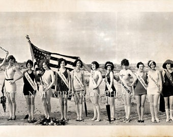 "1926 Bathing Beauties Parade Galveston Texas Vintage Panoramic Photo 33"" Long"