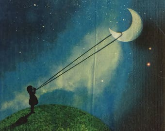 "3 Decoupage Napkins, Chasing the Moon, 13"" x 13"""