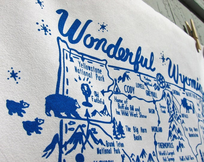Wonderful Wyoming Souvenir Tea Towel