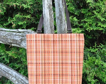 Orange/Green/Brown Plaid Tote