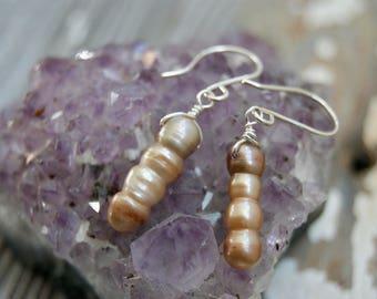 Dark Peach Pearl Earrings
