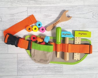 Personalised Child's Tool Belt Toy, Wooden Toy, Role Play, DIY, Gifts for Children, Tools - 00063