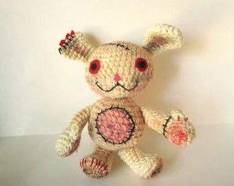 Dirty Bunny Crochet Doll - Amigurumi Bunny - FrankenBunny Zombie - OOAK Plushie - Scary Cute Amigurumi - Monster Stuffed Toy - Horror Plush