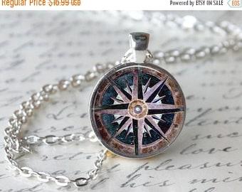 ON SALE Journey Necklace Journey Compass Necklace Journey Compass Jewelry 3D Glass Jewelry 3D Compass Gift Keepsake Journey Travel Necklace