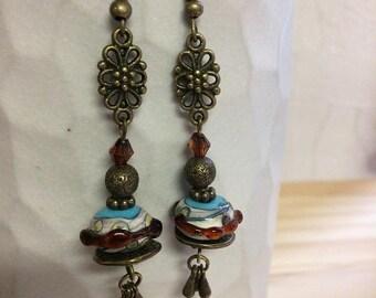 Earrings-Bohemian-rustic - Lampwork - Glass Beads metal bronze