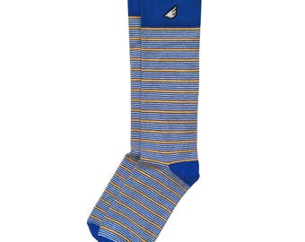 "Royal Blue / Gold / White Stripe Socks - Casual / Dress for Men and Women, Unique Fun Crazy Colorful - ""Sidekick"" Holiday Stocking Stuffer"