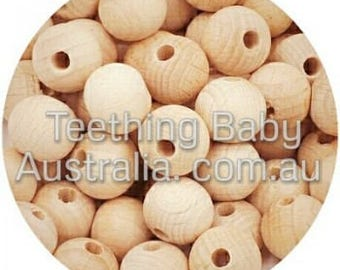 10mm BEECH WOOD BEADS - round -  Natural Eco Wood beads- Organic- Wooden - non toxic - Wholesale