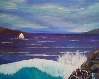"Original acrylic painting, wall art, wall decor, ""Sail Away With Me"", seascape, sailboat, waves travel, beach"