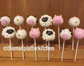 Farm Animal Cake Pops 1 Dozen Lamb, cow, chicken, pig, sheep