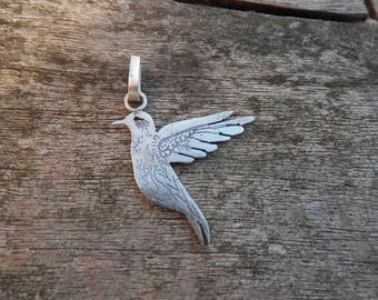 Silver engraved Hummingbird etched patina Sterling Silver Pendant