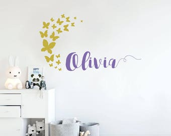 Name decal, wall decal, girl name decal, butterflies decal, nursery wall decal, wall stickers, baby room stickers, baby room decal, stickers