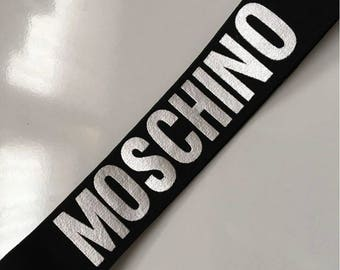 Inspired Moschino black silver or white  letter or red and black stripe headbands  bandanas