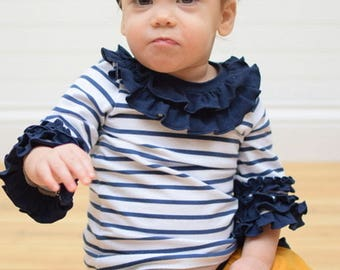 BABY Cheyenne's Ultimate Ruffle T-Shirt | PDF Sewing Pattern For Baby Sizes NB – 24 Months.