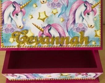 Trinket box, keepsake box, jewellery box, unicorn keepsake box, girls trinket box, unicorn box