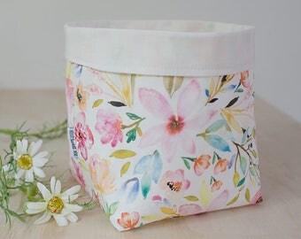 Storage basket. Floral basket. Baby shower gift. Floral nursery decor. Bathroom storage. Toy bin. Diaper caddy. Watercolour floral.
