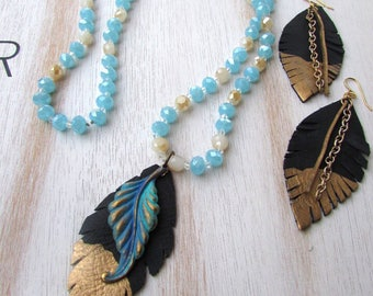 Blue Beaded Feather Necklace