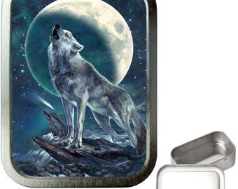 Wolf night 2oz silver tobacco tin,pill box,storage tin,keepsake