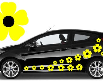 32, Yellow & black flower car decals,stickers in three sizes