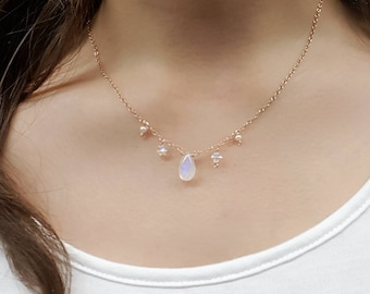 Moonstone 14K Rose Gold Filled  Necklace [The Galaxy Collection-Luna]