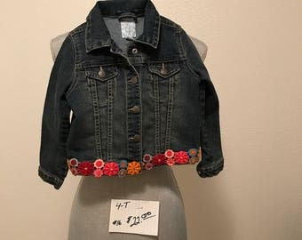 Upcycled 4t jean jacket with colorful trim