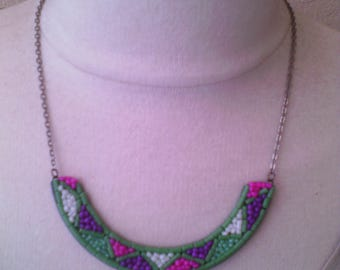 bib necklace Pearl green Tin recycling