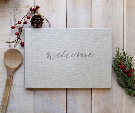 Linen Guest Book - Personalized - Contemporary Script - Welcome - Wedding - natural linen