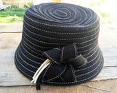 Black hat, Vintage Hat, Women hat, Retro Hat, Vintage Black Hat ,Vintage Hat, Womens Hat,French Hat, 90s Hat, Hats, Formal Hat