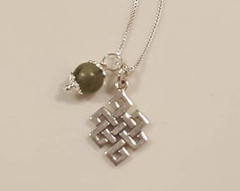 Sterling Silver - Celtic Necklace - Genuine Connemara Marble - Celtic Knot Necklace - Irish Connemara Marble - Endless Celtic Knot Necklace