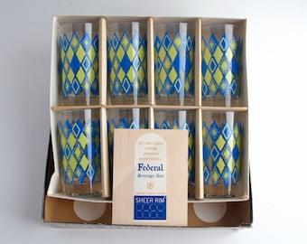 Federal Glass Tumblers Diamond Design Entertainer Glass Set of eight in original box