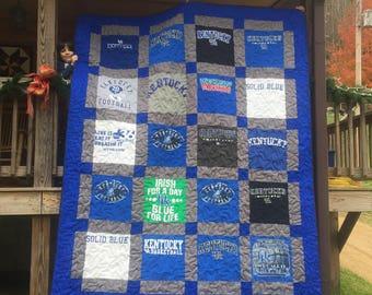 Queen Size Custom T-Shirt Quilt, Custom Memory Quilt, Made From shirts, Graduation Gift, Wedding Gift, Birthday Gift, Custom Memorial Quilt