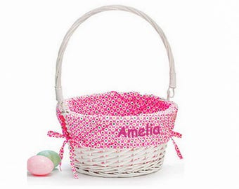 Personalized Colorful Dots Easter Basket - Pink