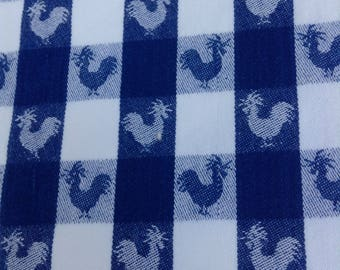 Vintage FRENCH COUNTRY ROOSTERS Gingham Tablecloth Blue And White French  Cottage Prairie Chic