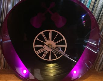Clock record two layered black & color choice / / guitar pick / / guitar / / Fan