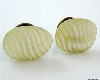Antique Edwardian Cufflinks Oval Textured Mother-of-Pearl