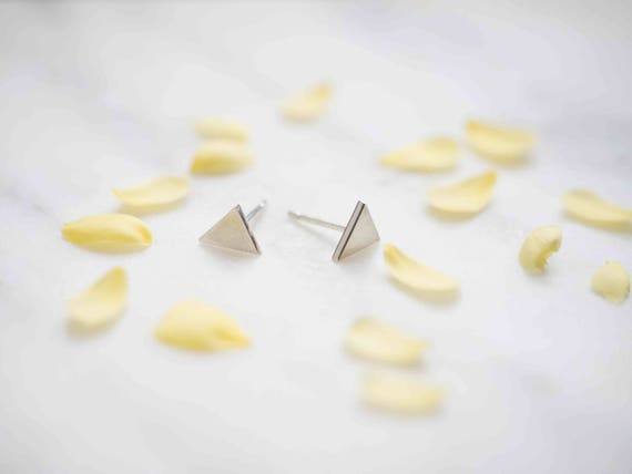 Tiny Triangle Silver Studs