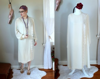 Adelaide Dress // Vintage 1960's Mynette Cream Shift Dress with Lace Edged Drape Front Panel // Women's Size 12 1920's Style Cream White
