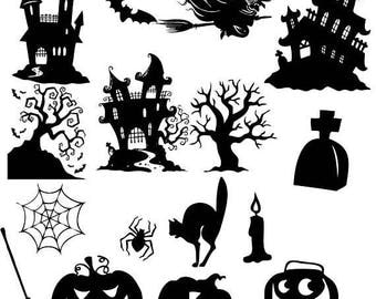 30%OFF Halloween Clipart, Halloween Clip Art, Halloween Silhouette, Web Clipart, Spooky Tree Clipart, pumpkin clipart Buy 2 Get 1 FREE