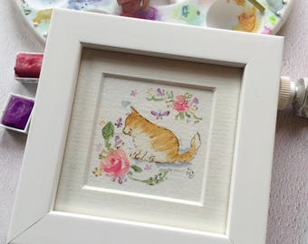 Watercolour miniature artwork, floral cats