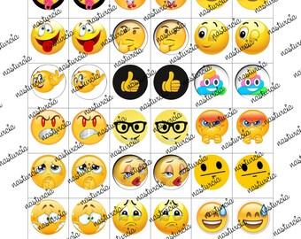 emoji bottle cap images cabochon images 18mm printable images instant download