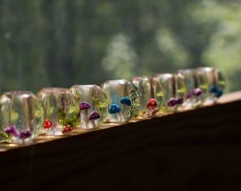 Bead for dreadlocks cascade with mushrooms