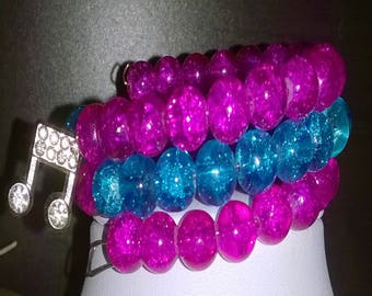 Bracelet 3 rows of pink and blue