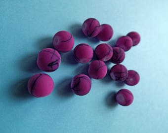 Orchid purple pink satin glass 8 mm round beads