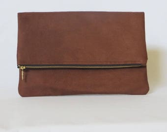 Fold Over Clutch, Brown Faux-Suede