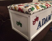 Tractor toy box, Personalised Toy Box. Toy Storage. Toy Box. cars. Toy Chest. Kids Toy Box. XL Toy Box. Kids Decor. Storage Chest.