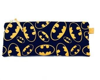 Batman Logo, Pencil Case, Makeup Bag, Multi Purpose Pouch, Gadget Bag, Handmade in the UK