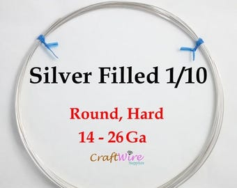 5% OFF 1/10 Silver Filled Wire, Round, Half Hard, 14 16 18 20 21 22 24 26 28 30 Gauge, Jewelry Making Wire, Silverfilled Wire