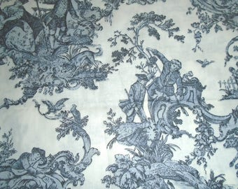 Vintage Gray and White Toile Fabric - Cotton - by the Half Yard
