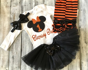 Black and orange Minnie Mouse first birthday outfit, minnie birthday outfit, black orange Minnie Mouse birthday, halloween Minnie birthday
